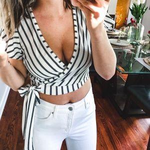 xo mandy sue Tops - XO Mandy Sue Striped Black & White Wrap Top Small